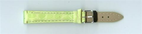 Green Skin Print Leather Watch Strap 14mm (Silver Buckle)